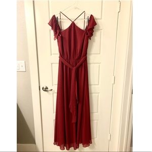 BILL LEVKOFF Cranberry Bridesmaid Dress